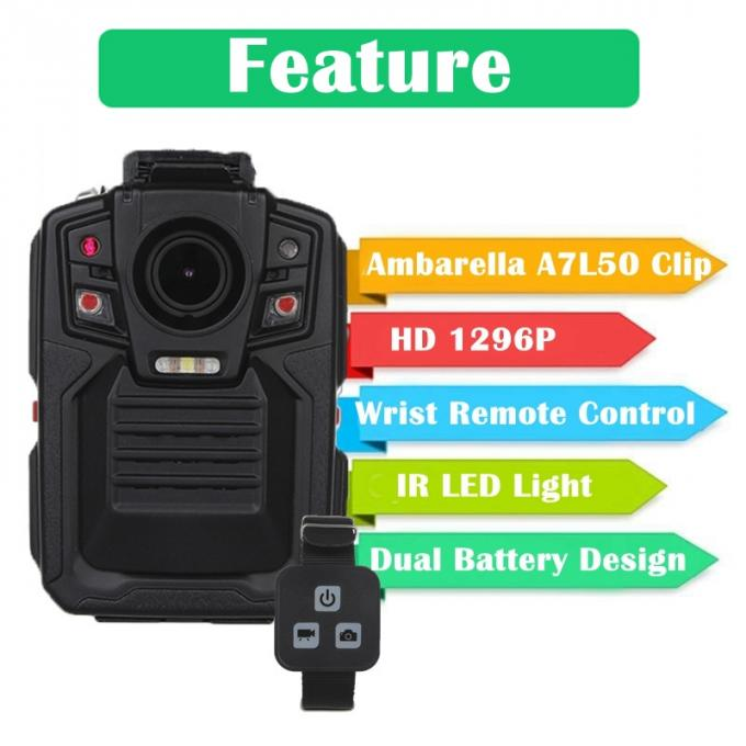 1296P Wireless Law Enforcement Body Camera Battery Life Long High Resolution