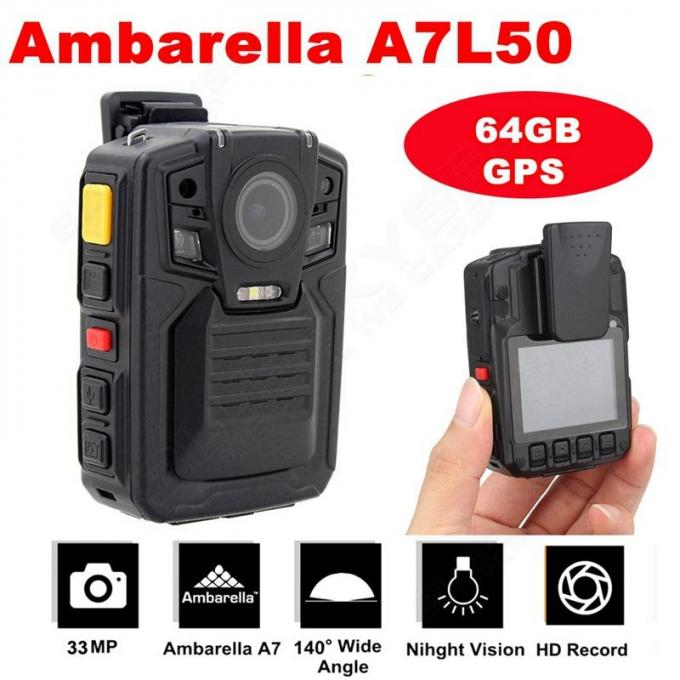 64GB Night Vision Body Worn Cameras For Police Officers 2 IR Light