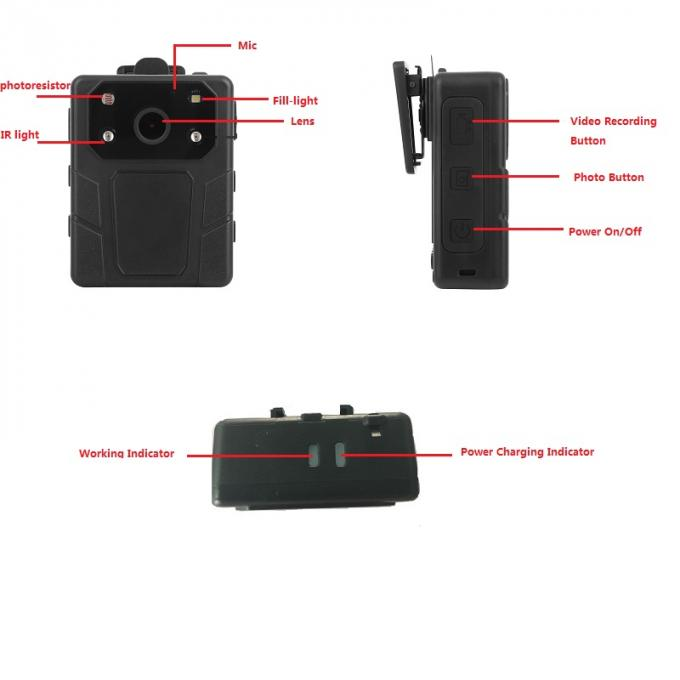 HD 1080P Police Body Camera Recorder Wireless GPS With H.2654 Video Format