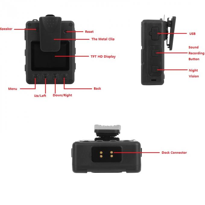 Night Vision Body Worn Video Recorder 1296p For Law Enforcement / Officials