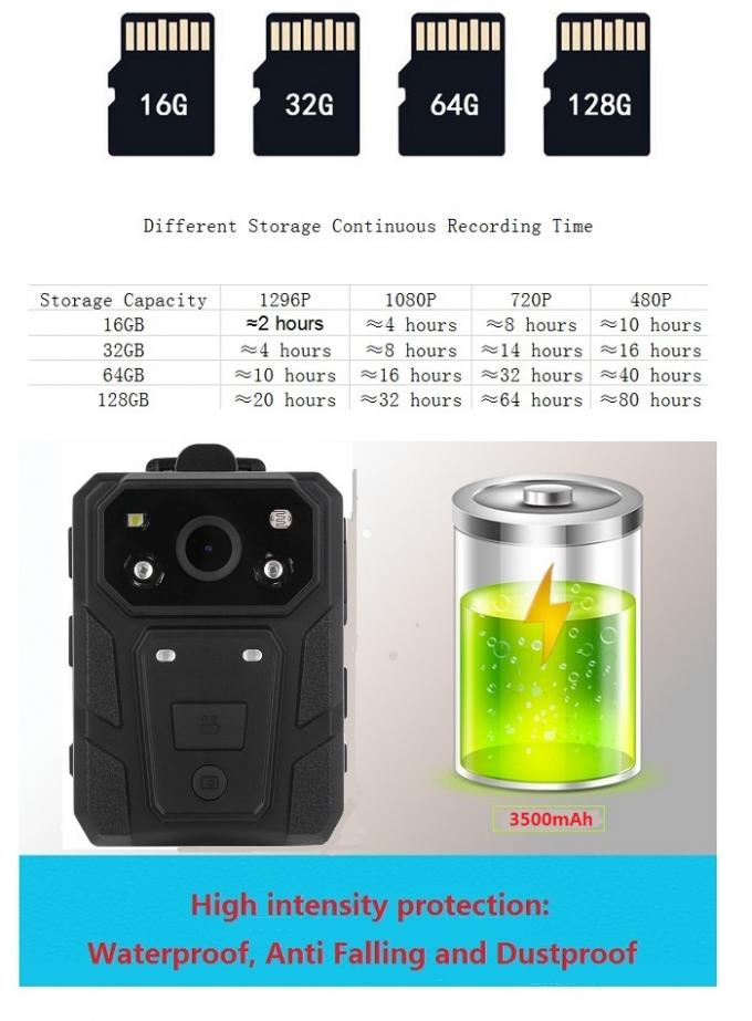 32GB / 64GB Infrared Wearable Camera 3500mAh Battery Long Time Recording