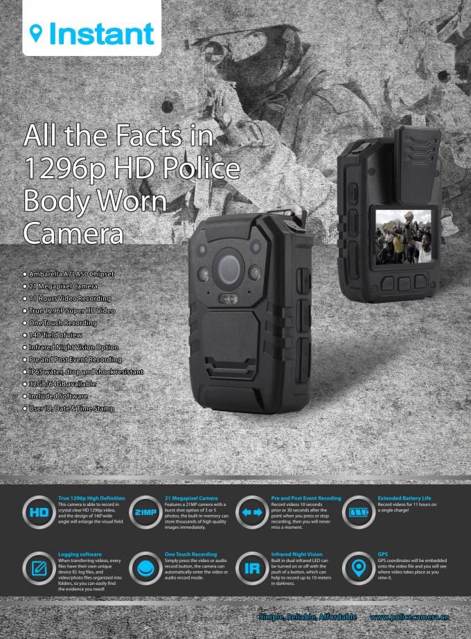 Ambarella A7L50 Police Wearing Body Cameras , Police Wearable Camera IP67 32MP WIFI